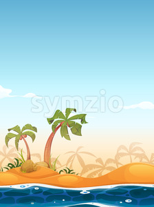 Exotic Beach Landscape Stock Vector