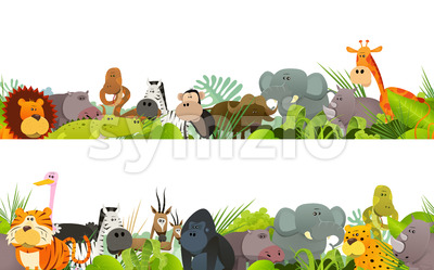 Seamless Frieze With Wild African Animals Stock Vector