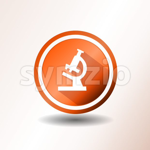 Microscope Icon In Flat Design Stock Vector