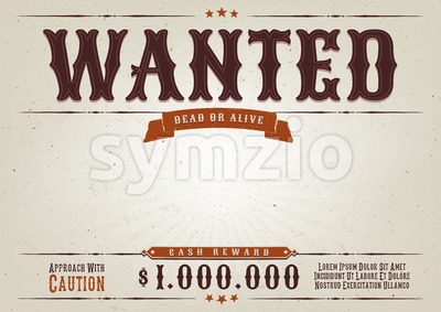 Wanted Western Movie Poster Stock Vector