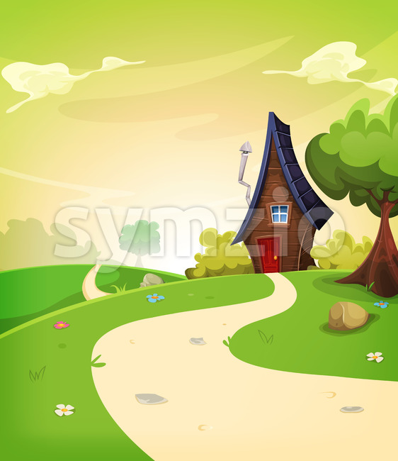 Illustration of a cartoon spring or summer season landscape with country road leading to a fairy little house