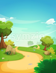 Spring Landscape Background With Path Stock Vector