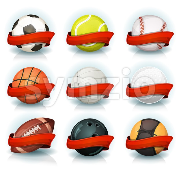 Set Of Sports Balls With Red Banners Stock Vector