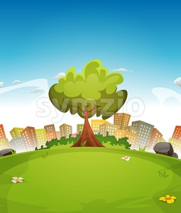 Spring City Landscape Stock Vector
