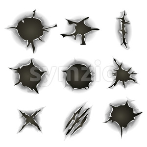 Bullet, Gunshot Holes, Cracks And Scratches Set Stock Vector