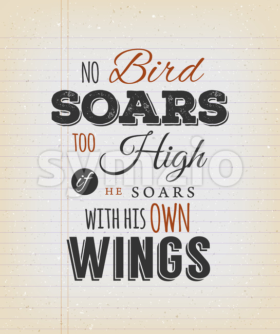 No Birds Soars Too High Inspirational Quote Stock Vector