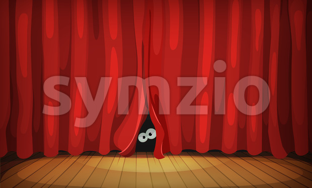 Eyes Behind Red Curtains On Wood Stage Stock Vector