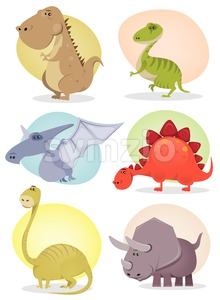 Cartoon Dinosaur Collection Stock Vector