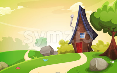 House Inside Spring Landscape Stock Vector