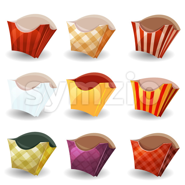 French Fries Box Collection Stock Vector