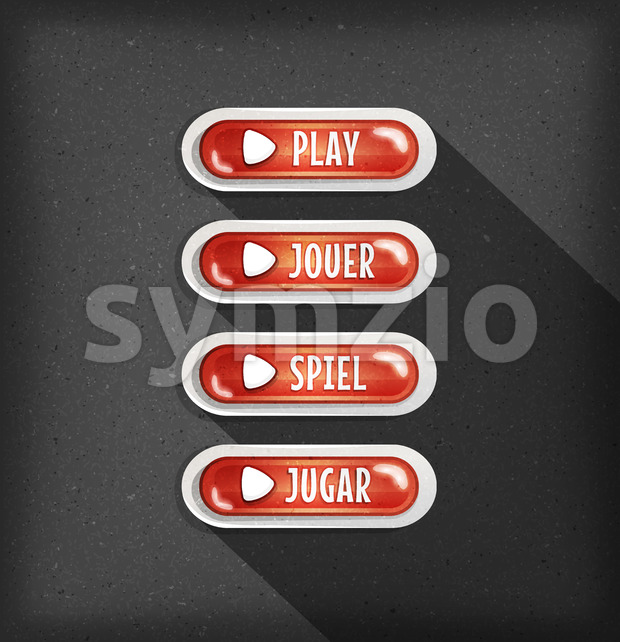 Play Buttons Design In Multiple Languages For Game Ui Stock Vector