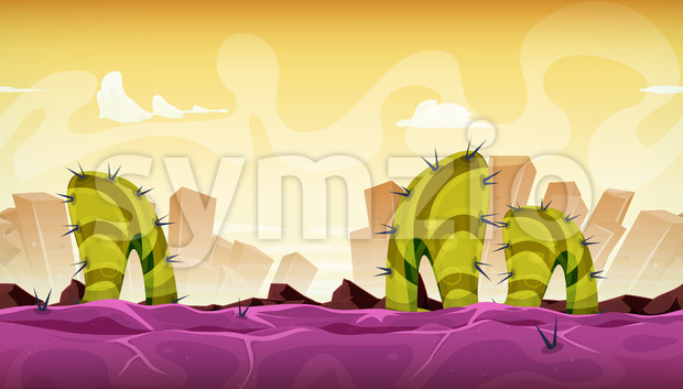 Seamless Fantasy Alien Landscape For Game Ui Stock Vector