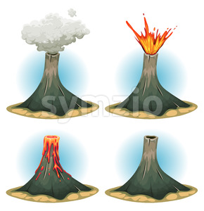 Volcano Mountains Set Stock Vector