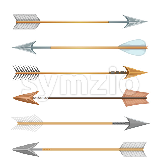 Illustration of a set of cartoon arrows, in different styles for sports and hunt