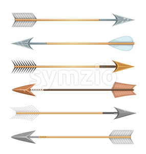 Cartoon Wood, Metal And Stone Arrows For Bow Stock Vector