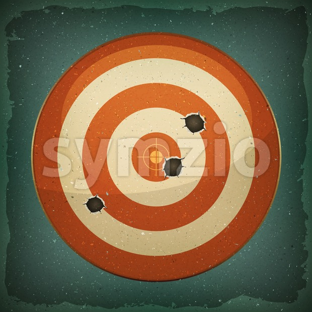 Dart Target With Bullets Shot Stock Vector