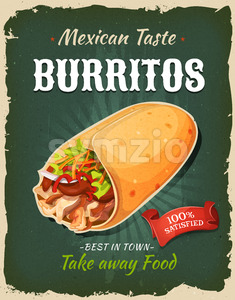 Retro Fast Food Mexican Burritos Poster Stock Vector