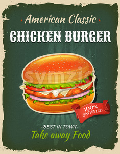 Retro Fast Food Chicken burger Poster Stock Vector