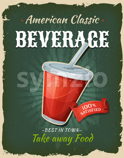 Retro Fast Food Beverage Poster Stock Photo