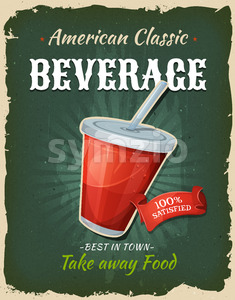 Retro Fast Food Beverage Poster Stock Photo