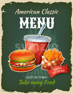 Retro Fast Food Chicken Burger Menu Poster Stock Vector
