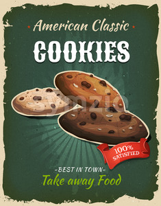 Retro Fast Food Cookies Poster Stock Vector