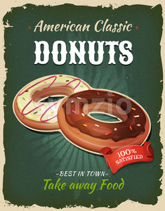 Retro Fast Food Donuts Poster Stock Vector