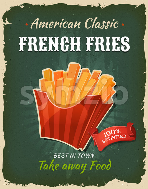 Retro Fast Food French Fries Poster Stock Vector