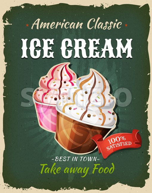 Retro Fast Food Ice Cream Poster Stock Vector