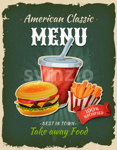 Retro Fast Food Burger Menu Poster Stock Vector