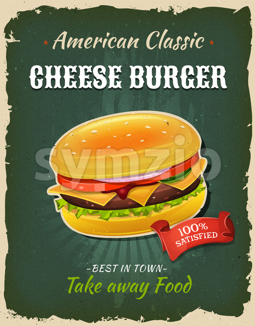 Retro Fast Food Cheeseburger Poster Stock Vector