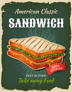 Retro Fast Food Sandwich Poster Stock Vector