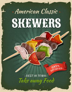Retro Fast Food Skewers Poster Stock Vector