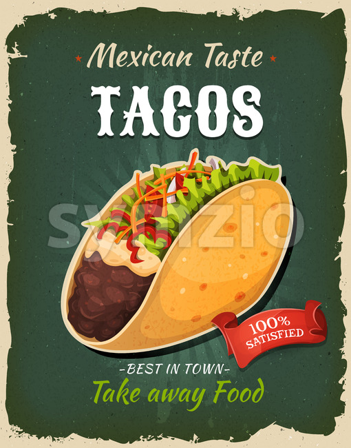 Retro Fast Food Mexican Tacos Poster Stock Vector