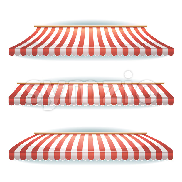 Striped Awnings Set Stock Vector