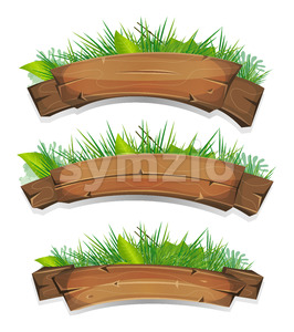 Comic Wood Banners With Plants Leaves Stock Vector
