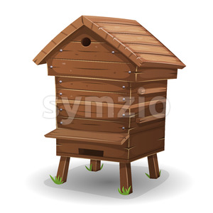 Wood Hive For Bees Stock Vector