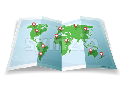 Travel World Map With GPS Pins Stock Vector