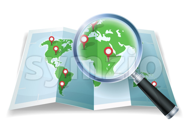 Magnifying Glass On World Map Stock Vector
