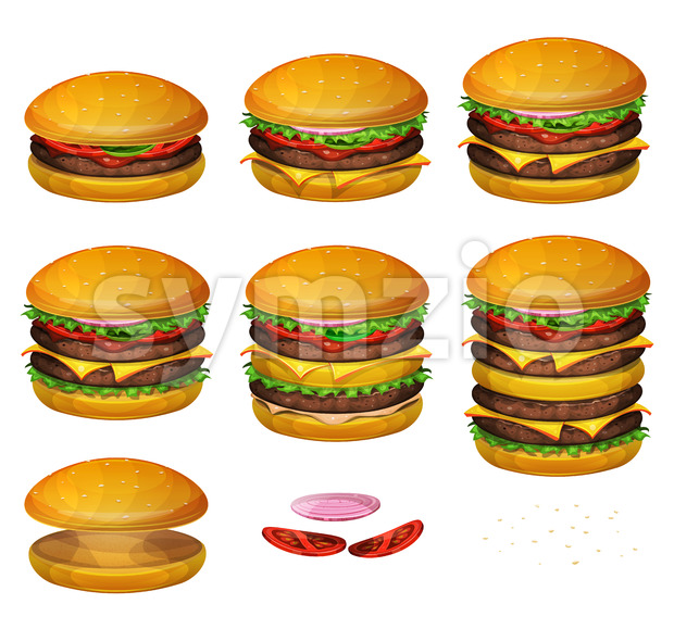 American Burgers All Size Stock Vector