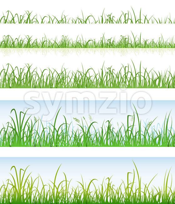 Illustration of a set of seamless various layers with thin blades of grass, for spring or summer landscape building