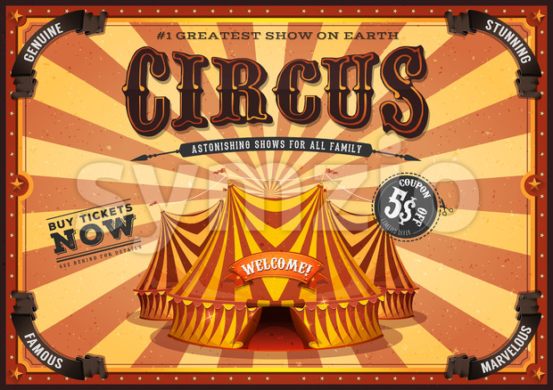 Vintage Yellow Circus Poster With Big Top Stock Vector