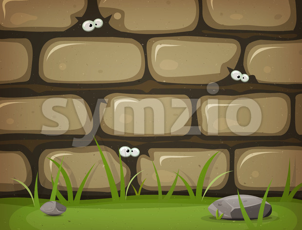 Illustration of a cartoon rural stone wall background, with bricks of rock, grass leaves and lawn, and mouse eyes inside ...