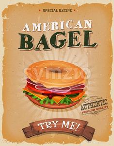 American Bagel Snack Poster Stock Vector