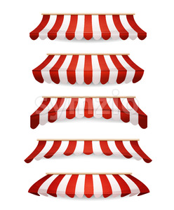 Striped Awnings For Market Store Stock Vector