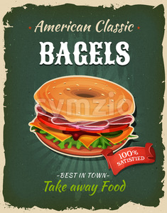 Retro Fast Food Bagel Poster Stock Vector