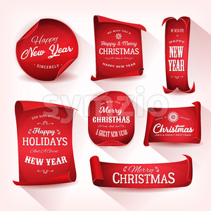 Set of Christmas Parchment Scroll Stock Vector