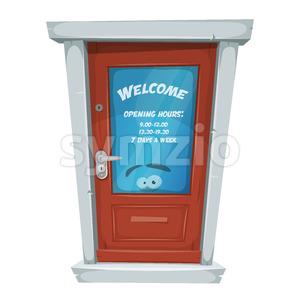 Shop Entrance Door With Opening Hours Stock Vector