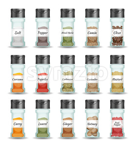 Spices, Pepper, Seeds And Condiment Set Stock Photo