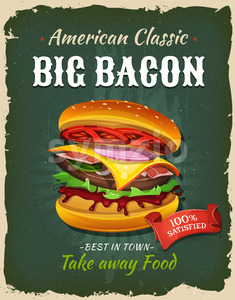 Retro Fast Food Bacon Burger Poster Stock Vector
